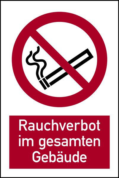 Kombischild, Rauchverbot im gesamten Gebäude - ASR A1.3 (DIN EN ISO 7010)