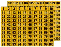 Klebezahlen 1-200, schwarz/gelb, 22x30mm