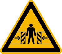 Warnzeichen, Warnung vor Quetschgefahr D-W023 - DIN 4844/BGV A8