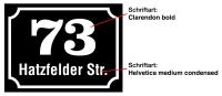 Straßenschild mit Hausnummer, Aluminium, 150 x 200 mm