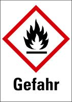 """Gefahrstoffkennzeichnung - Flamme (GHS02) & Signalwort """"Gefahr"""""""