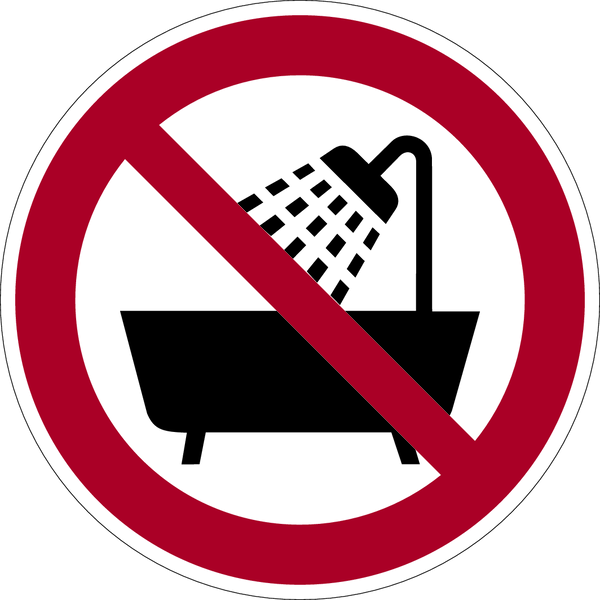Verbotszeichen, Verbot dieses Gerät in der Badewanne,  ... - praxisbewährt (1 VE = Bogen à 6 Stk.)