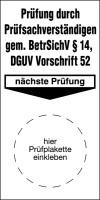 Grundplakette, BetrSichV § 14 / DGUV Vorschrift 52, Folie, 80 x 40 mm - VE = 100 Stk.