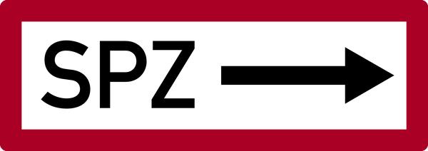 Brandschutzzeichen, SPZ (Sprinklerzentrale) mit Pfeil nach rechts - DIN 4066