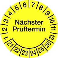 Prüfplakette, Nächster Prüftermin, Folie, gelb/schwarz, Ø 15 - 30 mm - VE = 10 Plaketten