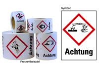 """Gefahrstoffkennzeichnung - Ätzwirkung (GHS05) & Signalwort """"Achtung"""" - Rolle à 500 Stück"""