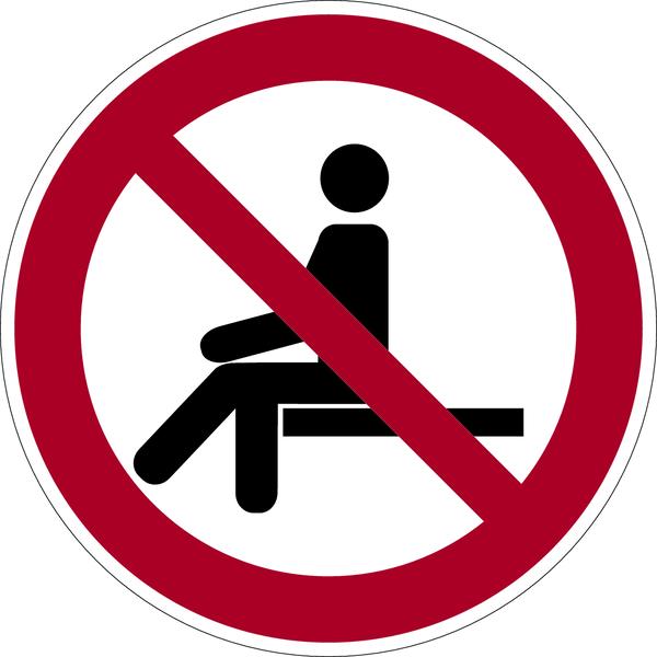 Verbotszeichen, Sitzen verboten P018 - ASR A1.3 (DIN EN ISO 7010)