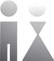 WC-Piktogramm, Damen/Herren, 110 x 95 mm, Edelstahl