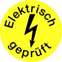 Prüfplakette, Elektrisch geprüft mit Blitzpfeil, gelb/schwarz, Folie, Ø 15mm - VE = 10 Plaketten