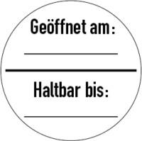 Prüfplakette, Geöffnet am: / Haltbar bis:, Ø 30 mm, Dokumentenfolie - VE = 10 Stück