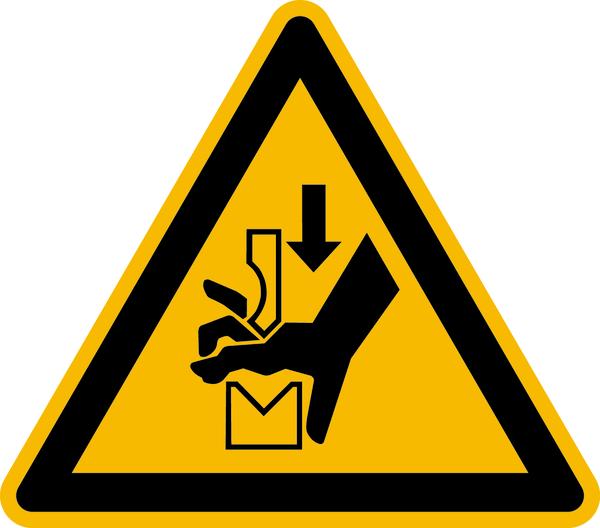 Warnzeichen, Warnung vor Quetschgefahr zwischen Werkzeugen einer Presse W030 - ASR A1.3 (ISO 7010)