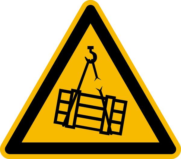 Warnzeichen, Warnung vor schwebender Last D-W006 - DIN4844/BGV A8