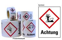 """Gefahrstoffkennzeichnung - Umwelt (GHS09) & Signalwort """"Achtung"""" - Rolle à 500 Stück"""