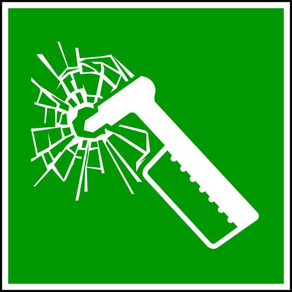 Rettungszeichen, Notfallhammer E025 - ASR A1.3 (DIN EN ISO 7010)