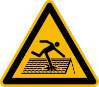 Warnzeichen, Warnung vor nicht durchtrittssicherem Dach W036 - ASR A1.3 (DIN EN ISO 7010)