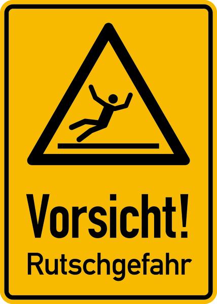 Hinweisschild, Vorsicht Rutschgefahr, 350x250mm, Alu geprägt