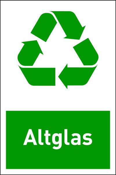 Design-Recyclingschild: Altglas