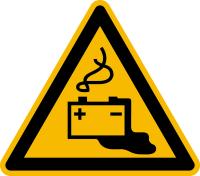Warnzeichen, Warnung vor Gefahren durch Batterien (W026) - DIN EN ISO 7010