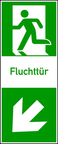Rettungszeichen, Fluchttür (Klinke links)