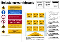 Regalkennzeichnung mit Belastungswarnhinweisen, Palettenregal, mit Wunschtext - DIN EN 15635