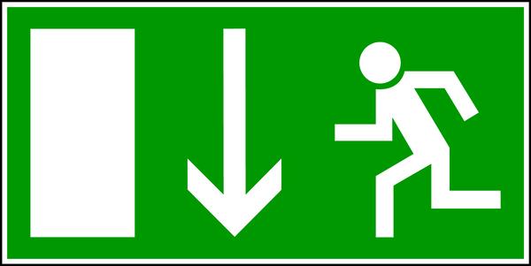 Rettungszeichen, Notausgang E 16 - BGV A8