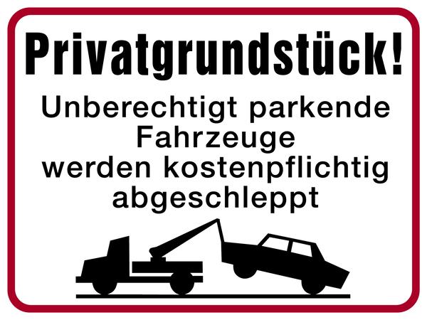 Parkverbotsschild, Privatgrundstück!, 300x400mm, Alu geprägt