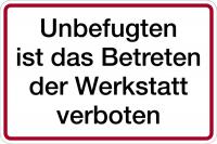 Hinweisschild, Betreten der Werkstatt verboten, Alu geprägt, 200 x 300 mm