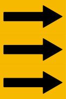 Fließrichtungspfeile gemäß DIN 2403, gelb/schwarz