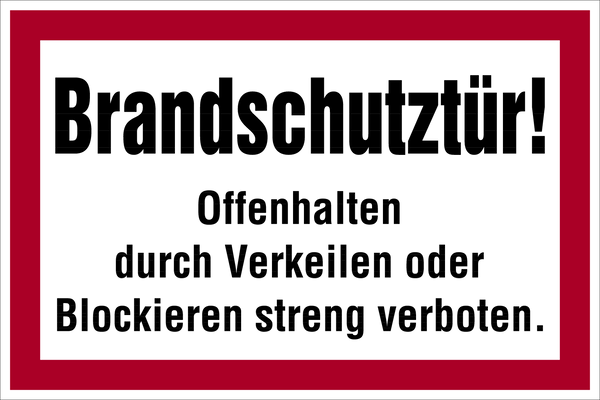 Brandschutzzeichen, Brandschutztür - angelehnt an DIN 4066