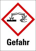 """Gefahrstoffkennzeichnung - Ätzwirkung (GHS05) & Signalwort """"Gefahr"""" - Bogen à 16 Stück"""