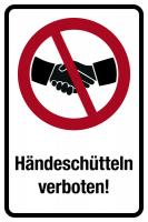 Verbotsschild Kombischild, Händeschütteln verboten