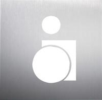 WC-Piktogramm, Rollstuhlfahrer, 160 x 160 mm, Edelstahl