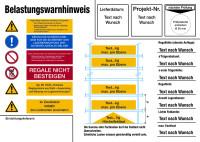 Regalkennzeichnung mit Belastungswarnhinweisen, Fachbodenregal, mit Wunschtext - DIN EN 15635