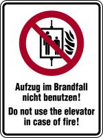 Kombischild, Aufzug im Brandfall nicht benutzen, Deutsch/Englisch - DIN EN ISO 7010