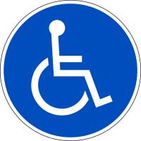Parkplatzschild, Symbol Rollstuhlfahrer (rund)