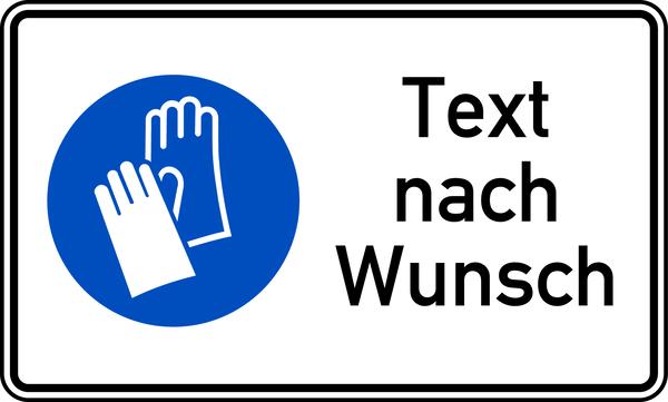 Kombischild Handschutz benutzen + Text nach Wunsch