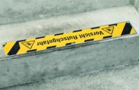 Antirutschplatte, Safety-Stair mit Warnhinweisen, schwarz/gelb, Edelstahl, 110 x 660 mm
