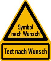 Warnzeichen Kombischild, Symbol und Text nach Wunsch, 237 x 200 mm