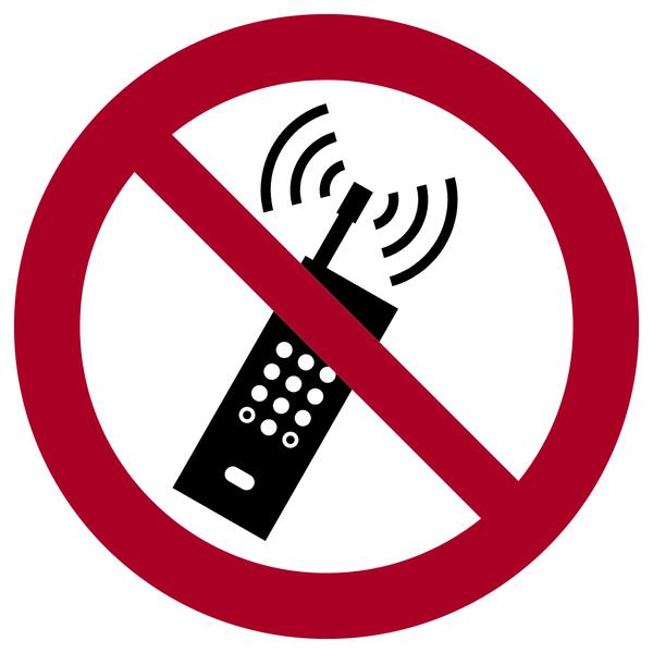 Verbotszeichen, Eingeschaltete Mobiltelefone verboten P013 - ASR A1.3 (DIN EN ISO 7010)