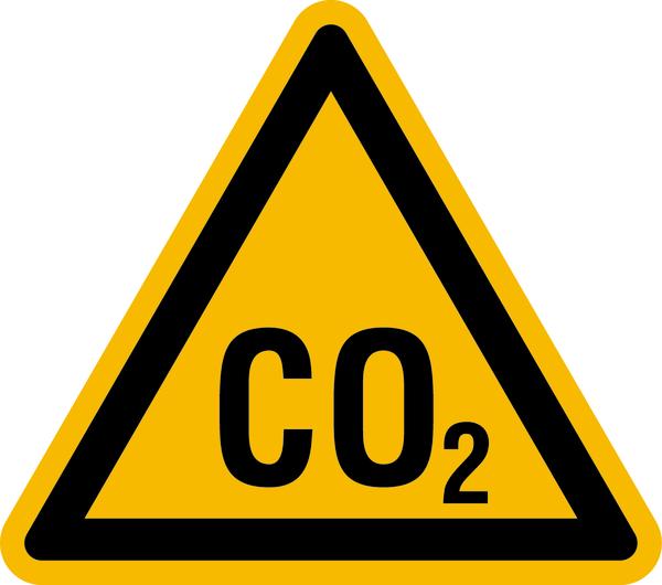 Warnzeichen Warnung vor CO2