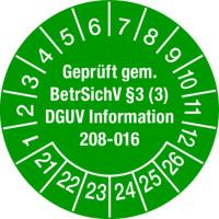 Prüfplakette, Geprüft gem. BetrSichV § 3 (3) DGUV Information 208-016 Ø 30mm - VE = 10 Plaketten