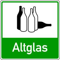 Abfallkennzeichen, Altglas, grün, 100 x 100 mm, Folie