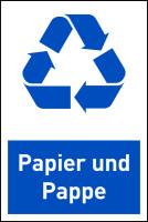 Design-Recyclingschild: Papier und Pappe, Folie selbstklebend, 150 x 100 mm
