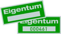 Eigentumsetiketten, mit Freifeld, Polyesterfolie silber/grün - VE = 100 Stk.
