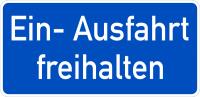Hinweisschild, Ein- Ausfahrt freihalten, Alu geprägt, 170 x 350 mm