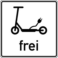 Verkehrszusatzzeichen - E-Scooter frei, Aluminium, 300 x 300 mm, Zeichen 1010-68 - gem. eKFV