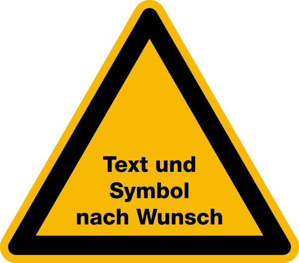 Warnzeichen Symbol und Text nach Wunsch