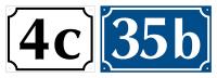 Hausnummernschild nach Wunsch, Aluminium geprägt (1, 2 und 3-stellig)