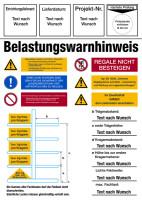 Regalkennzeichnung mit Belastungswarnhinweisen, Kragarmregal, mit Wunschtext - DIN EN 15635