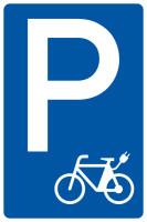 Parkplatzschild, Piktogramm E-Bike, 630 x 420 mm, Alu glatt